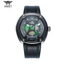 d0e2fa109 AMST أعلى العلامة التجارية الأزياء الإبداعية الطلب الرجال ووتش جلدية حزام  30 M للماء الرياضة الرجال ساعات كوارتز حقيقية المعصم