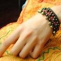 Pulseira étnica feminina trançada feita à mão & bracelete, bracelete Nipa vintage tailandês novo, bracelete com fita jóia moda tibetana