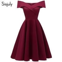 Sisjuly Women Evening Party Retro Burgundy Wine Red Dark Blue Dress Office Lady Summer Spring Work Elastic Off Shoulder Dresses
