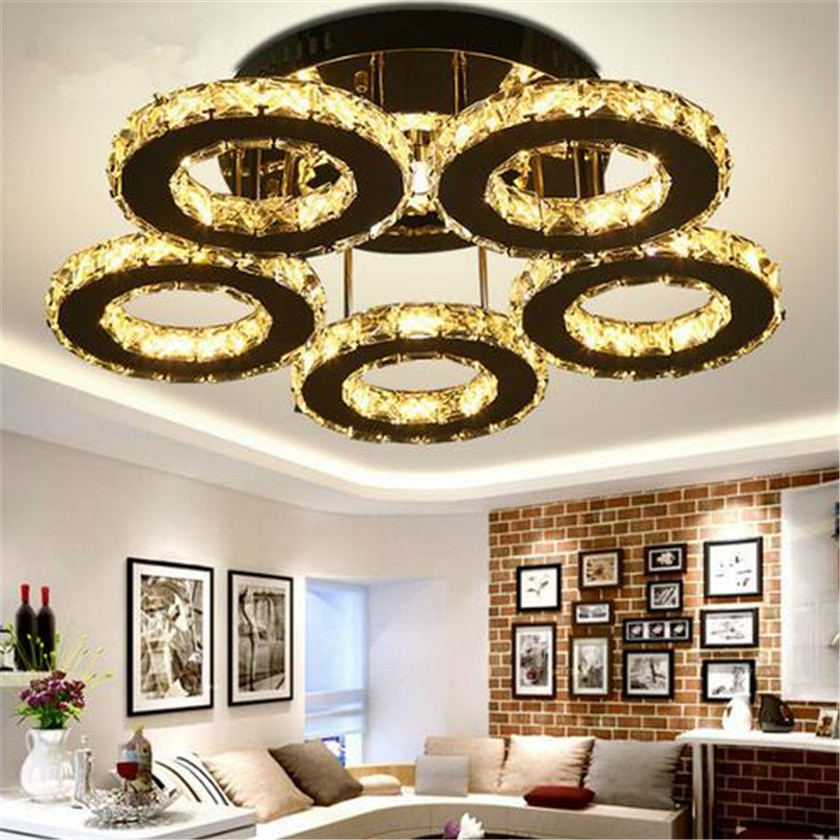 Crystal Rings Ceiling Lamp Modern Luminaire plafonnier for Living Room Mirror Lamparas De Techo Led Lustres Indoor Home Lights