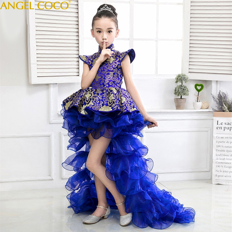Girls Evening Dress Piano Performance Catwalk Stage Host Party Gown carnival costume for kids Child Princess Children Clothing