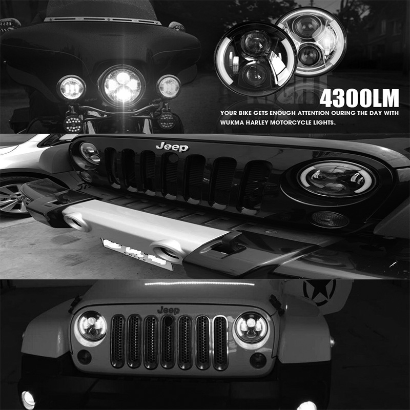 7 Inch LED Headlight Head light lamps H4 - H13 White Halo Angel Eyes For Lada 4x4 urban Niva JK Land rover defender Hummer
