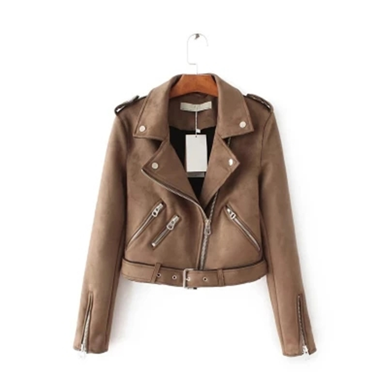2018 Spring Autumn Casual Imitation Deerskin Short   Jackets   / Coats Women Outerwear Lapel Zipper Motorcycle   Basic     Jackets   Z292