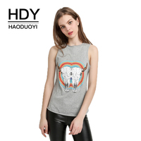 HDY Haoduoyi Brand Women Gray Animal Print Bodycon Sleeveless Tanks Cold Shoulder O Neck Female Casual