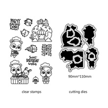 AZSG Lovely Cooking Bear Rabbit Cutting Dies Clear Stamps For DIY Scrapbooking/Card Making Decorative Silicone Stamp Crafts