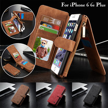 CaseMe Detachable 2 in 1 Leather Case for iPhone 6 6s Plus Luxury Flip Card Slot Zipper Wallet Bag Cover for Apple iPhone 6 Plus detachable 2 in 1 magnetic absorbed oil buffed leather wallet case for iphone 6 plus 6s plus red