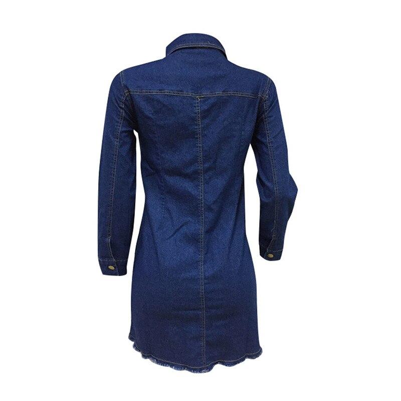 Autumn Winter Women Denim Shirt Dress 2019 Elegant Button Pockets Long Sleeve Ladies Sexy Mini Dress Hole Party Blue Jean Dress in Dresses from Women 39 s Clothing