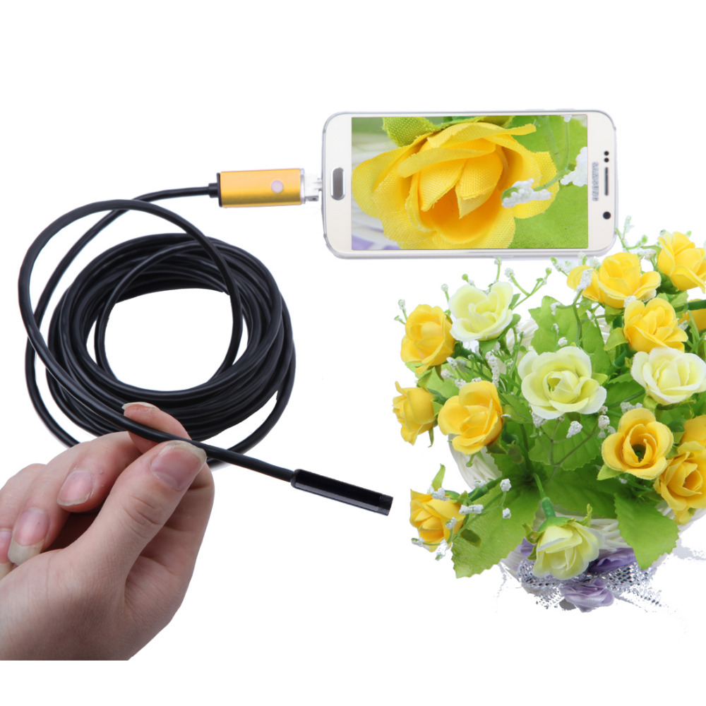 Gold 2M 6 LED 7.0 mm Lens 2IN1 Android Endoscope Waterproof Inspection Borescope Tube CMOS Camera For Cell Phone Android PC gakaki 7mm lens usb endoscope borescope android camera 2m waterproof inspection snake tube for android phone borescope camera
