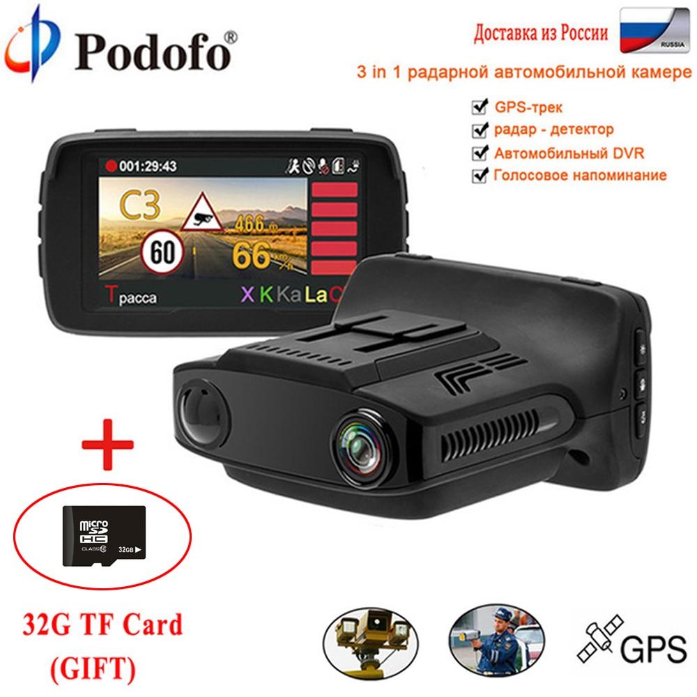 Podofo Voiture DVR Détecteur de Radar GPS 3 en 1 Voiture-détecteur caméra FHD 1080 P Speedcam Russe Anti Radar Détecteurs Ambarella Dash Cam