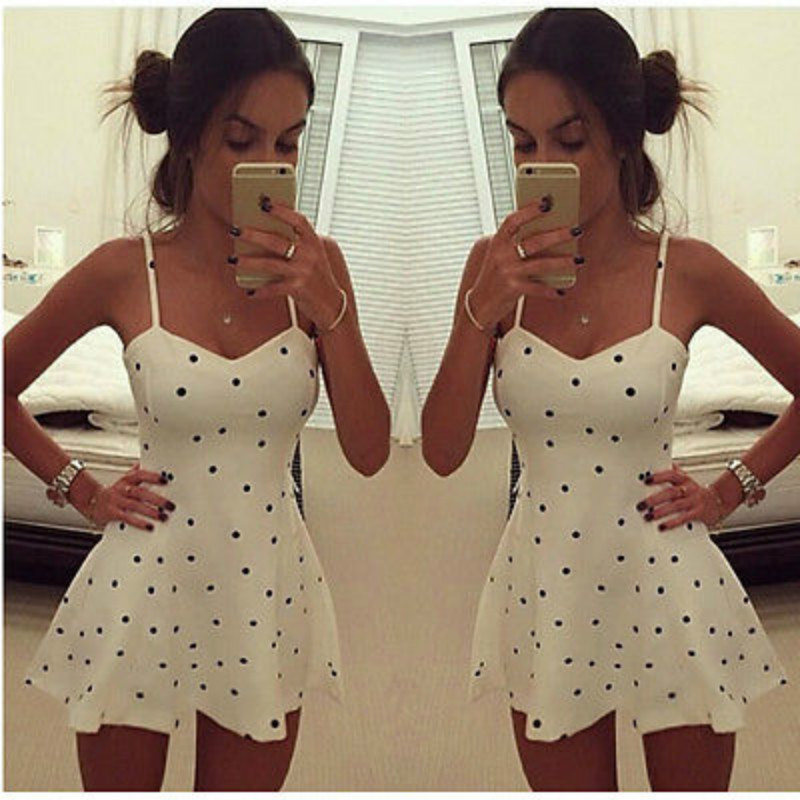 <font><b>2015</b></font> <font><b>Sexy</b></font> Women Summer Strap Sleeveless Polka Dot Club Cocktail Mini Dress image