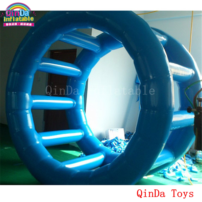 1.5m long aqua roller for amazing games, free air pump inflatable water floating wheel for adult funny summer inflatable water games inflatable bounce water slide with stairs and blowers