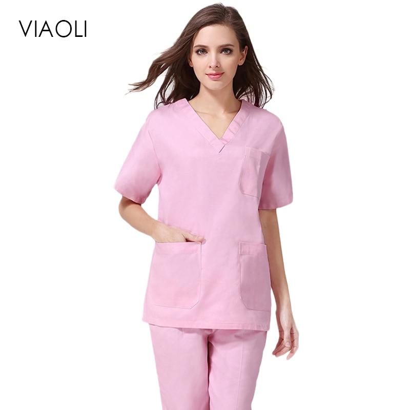 Viaoli New Fashion Women Medical Uniforms Nursing Clothes Short Sleeve Work Wear V Neck Solid Summer Short Sleeve Nurse Uniform