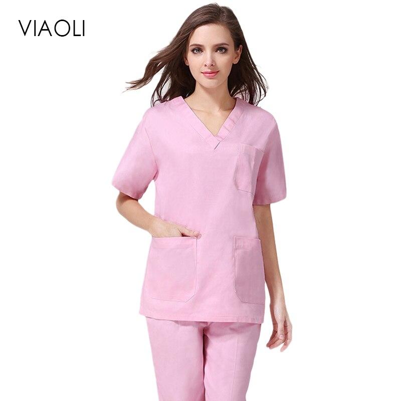 Viaoli nova Moda Feminina Uniformes de Enfermagem Médico Roupas Desgaste do Trabalho de Manga Curta V Neck Sólidos Verão de Manga Curta Uniforme Da Enfermeira