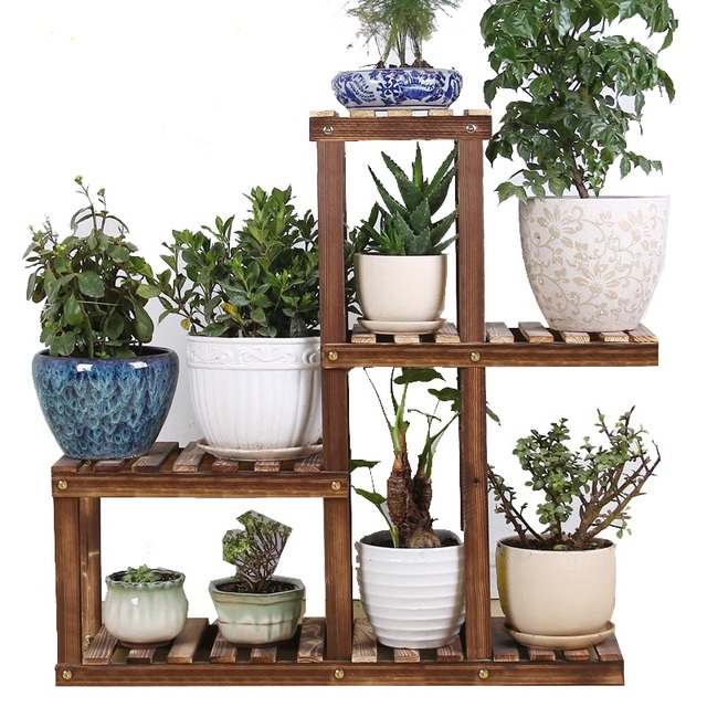 Wood Bathroom Shelf Flower Pot Storage Indoor Living Room Wooden ...