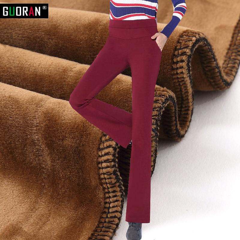 2016 Winter   pants   women plus velvet warm thicken fleece patchwork office OL   wide     leg     pants   flare trousers pantalon femme