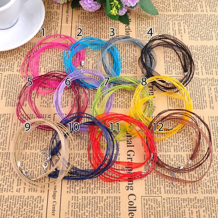 "Free Shipping New Silk Organza Ribbon Necklace Strap Wax Cord 18"" Chain 10pcs/lot Lobster Clasp U Choose Color"