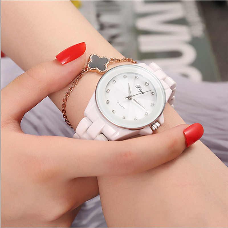 f48e2fcbf8cc 2018 женские кварцевые часы водостойкие белые керамические часы люксовый  бренд ...