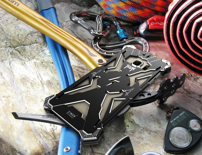 imágenes para Caso Original Diseño Armadura de Gran Cantidad de Polvo de Aluminio del Metal THOR S7 IRONMAN proteger cáscara del teléfono funda para el samsung galaxy s7 borde