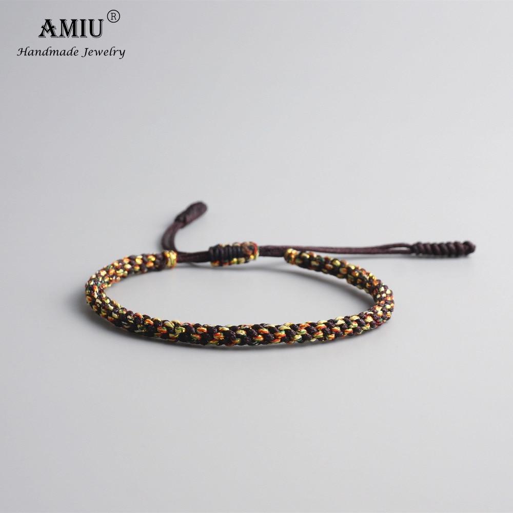 AMIU Tibetan Buddhist Lucky Charm Tibetan Bracelets & Bangles For Men Handmade Knots Nylon Thread Red Rope Bracelet