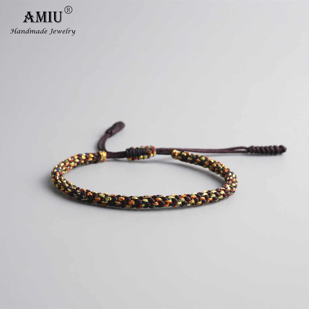 AMIU Tibetan Buddhist Lucky Charm Tibetan Bracelets & Bangles For Men Handmade Knots Nylon Thread Red Rope Bracelet