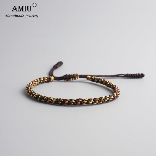 Amiu Tibetan Buddhist Lucky Charm Bracelets Bangles For Men Handmade Knots Nylon Thread Red