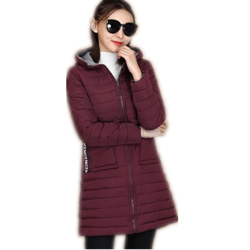 2017 Fashion Winter&Autumn Down Cotton Medium-Long Jacket Parka Female Hooded Wide-Waisted Slim Cotton Outerwear Warm Coat CQ512 3 colors l 2xl 2015 new women winter down cotton padded coat female long hooded wide waisted jacket zipper outerwear zs247