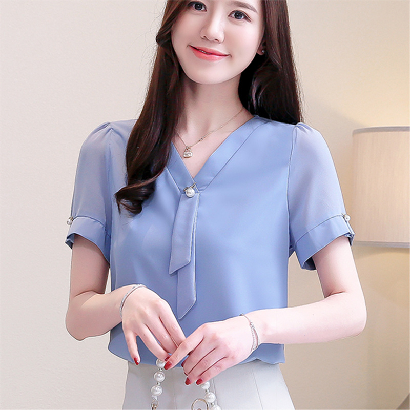 2019 New Womens Tops And   Blouses   Chiffion Clothes Solid Color V Neck Short Sleeve Casual Office Ladies Summer   Shirts   Plus Size