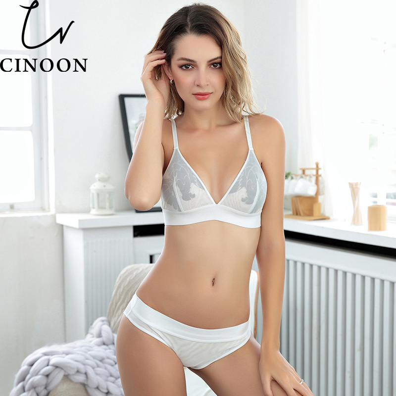 CINOON Women sexy underwear   bra   embroidery lingerie   set   thin lace   bra   transparent ultra-thin temptation push up   bra     set