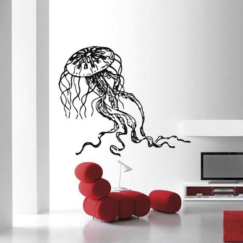 Ocean Biological Sea Decoration Jellyfish Wall Sticker Vinyl Home Decor Living Room Bathroom Decals Interior Mural 3319