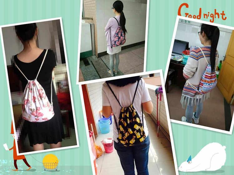2020 kadın sırt çantası ulusal tuval İpli sırt çantası Vintage koleji öğrenci kızlar rahat seyahat çantası günlük Mochila Feminina
