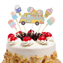1Set Cake Toppers Flags Kids Birthday Summer ice cream Car Cupcake Topper Wedding Bridal Wrapper Party Baking DIY Xmas