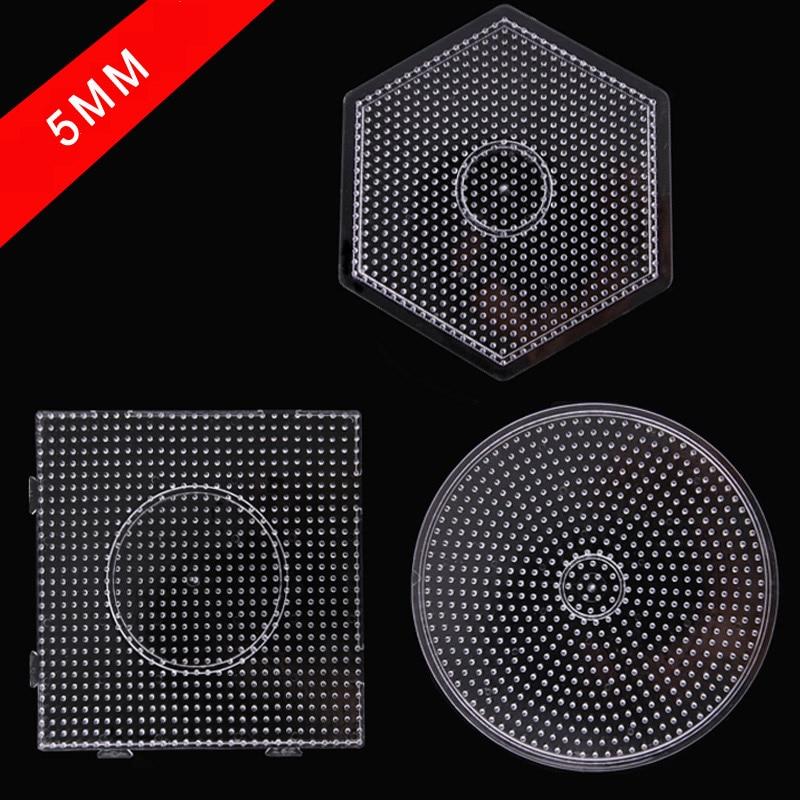 Yant Jouet 5mm Hama Beads Pegboard Transparent Template Board Circular Square tool DIY Figure Material Board Perler Beads(China)