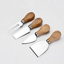 Набор ножей из 4 предметов, набор ножей, бард, Дубовая бамбуковая деревянная ручка, нож для резки сыра, набор кухонных инструментов для приготовления пищи, резак, полезные аксессуары