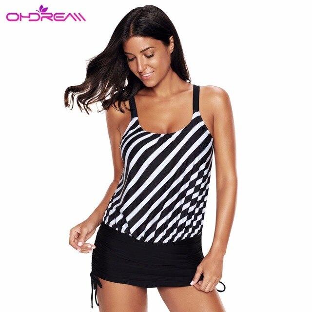 68e001ff32 OHDREAM Striped One Piece Swiming Short Skirt Swimsuit Women Beach Wear Bathing  Suit Black Plus Size