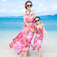 Ju1613 Summer Fashion Beach little Girls Dress Casual Lady Dress Family Matching Outfits Clothes Mother&Daughter Bohemian Dress