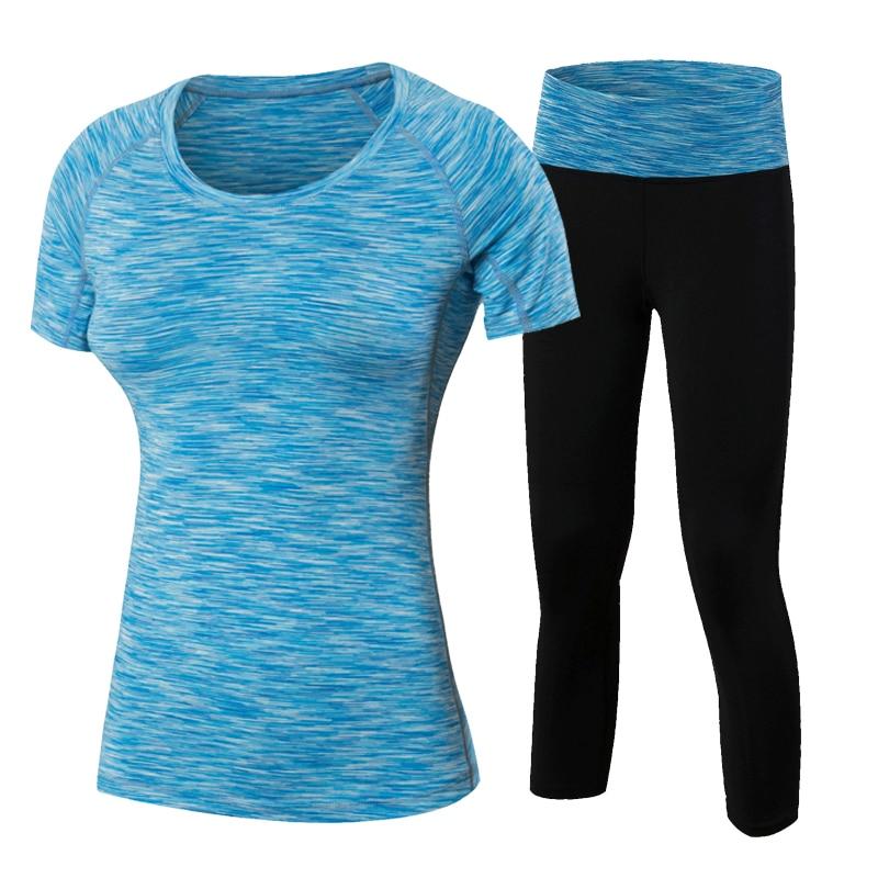 YD 2Pcs Yoqa Yeni Fitness Qadın Wick Workout İdman İdman Geyimi - İdman geyimləri və aksesuarları - Fotoqrafiya 4