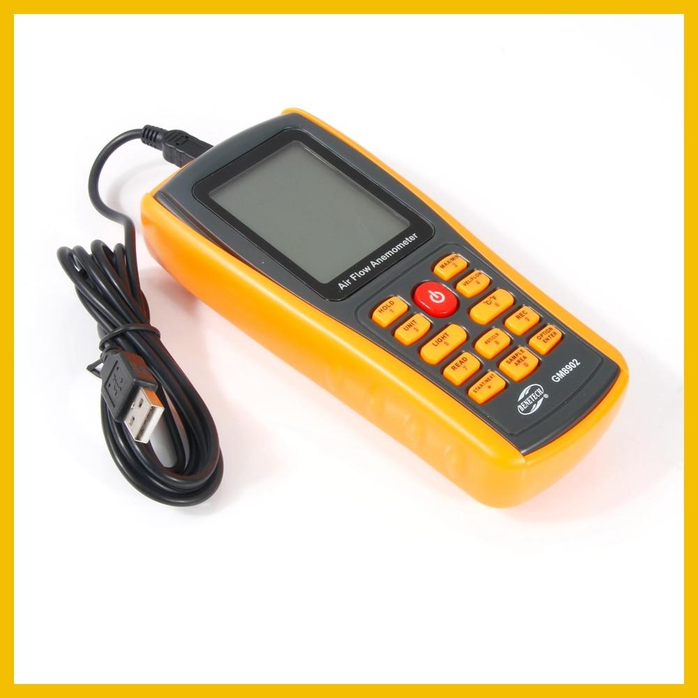 Anémomètre numérique compteur de vitesse du vent testeur de débit d'air mesurant 0 ~ 45 m/s avec thermomètre anémomètre portable USB GM8902-BENETECH - 2