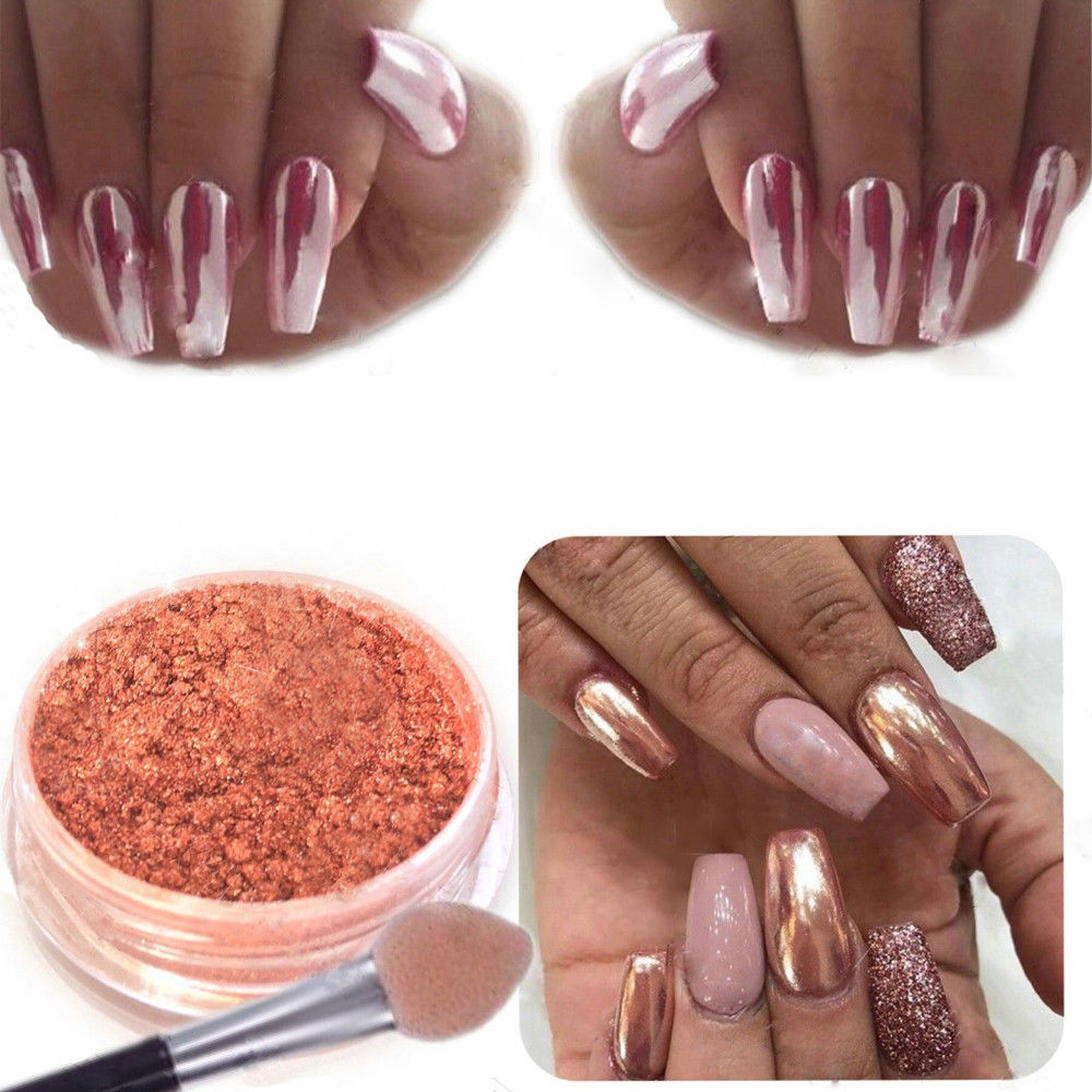 Sexy Rose Gold Nail Mirror Powder Glitter Chrome Powder Art ...