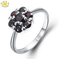 Hutang Cute Natural Black Garnet Solid Ring 925 Sterling Silver Floral Ring For Women Fine Jewelry