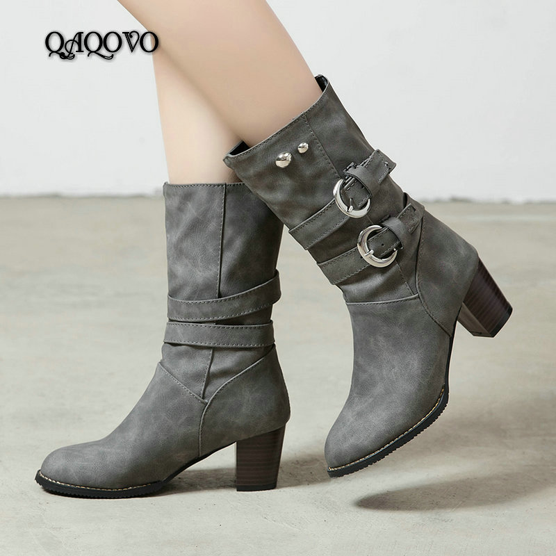 2019 Autumn Winter Ladies Boots Fashion Mid-Calf Boots Women Comfort Square High Heels Western Cowboy Boots Slip On Shoes Women