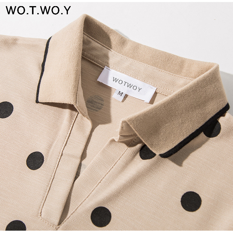 WOTWOY Summer Polo Shirt Dress Women Dot Print Plus Size Loose Cotton Maxi Dresses Pocket Short Sleeve Black Apricot Long Dress 6