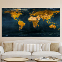 Abstract Vintage Gold Globe World Map Oil Painting Poster and Print Canvas Art Modern Wall Picture for Office Room Cuadros Decor