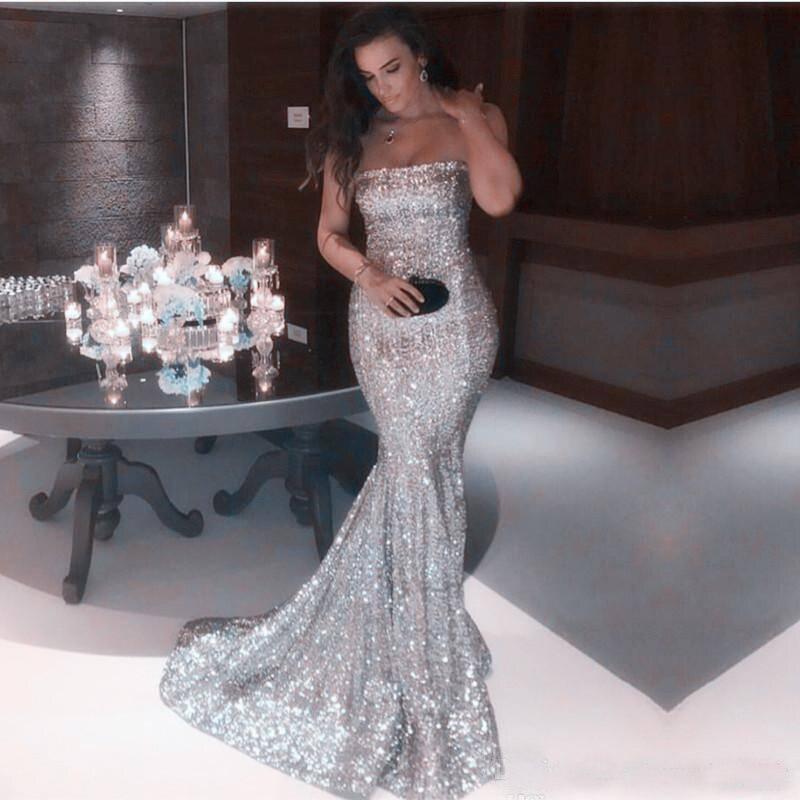 Sexy sans bretelles argent sirène robes de bal 2019 nouveauté brillante pailletée longue formelle robes de soirée pas cher Vintage fête porter