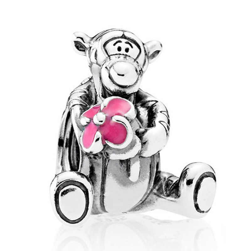 024f6f8ee Authentic 925 Sterling Silver Bead Charm Pink Enamel Cute Cartoon Tigger  Beads Fit Women Pandora Bracelet