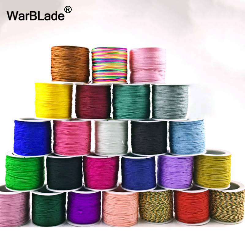 1Roll Black Nylon Braided Cord Drawstring Thread for Bracelets Making 1mm 2mm
