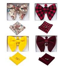 Ricnais Corbata de lazo grande de terciopelo para hombre, pajaritas cuadradas de bolsillo, conjunto de gemelos, pañuelo pajarita rojo y azul sólido para hombre, regalo de boda