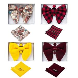 Image 1 - Ricnais Velvet Big Bow Tie Mens Bowties Pocket Square Cufflinks Set Solid Red Blue Handkerchief Necktie For Man Wedding Gift