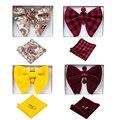 Ricnais velvet gravata borboleta grande bowties masculino bolso quadrado abotoaduras conjunto sólido vermelho azul lenço gravata para o presente de casamento do homem