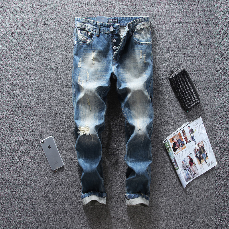 цена на Italian Style Fashion Mens Jeans Frayed Hole Ripped Jeans For Men Slim Fit Buttons Pants DSEL Brand Blue Color Biker Jeans Men