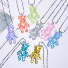 Fashion Cartoon Multicolor Transparent Jelly Resin Bear Necklace Girl Cute Jewelry Party Fun Suitable Gift